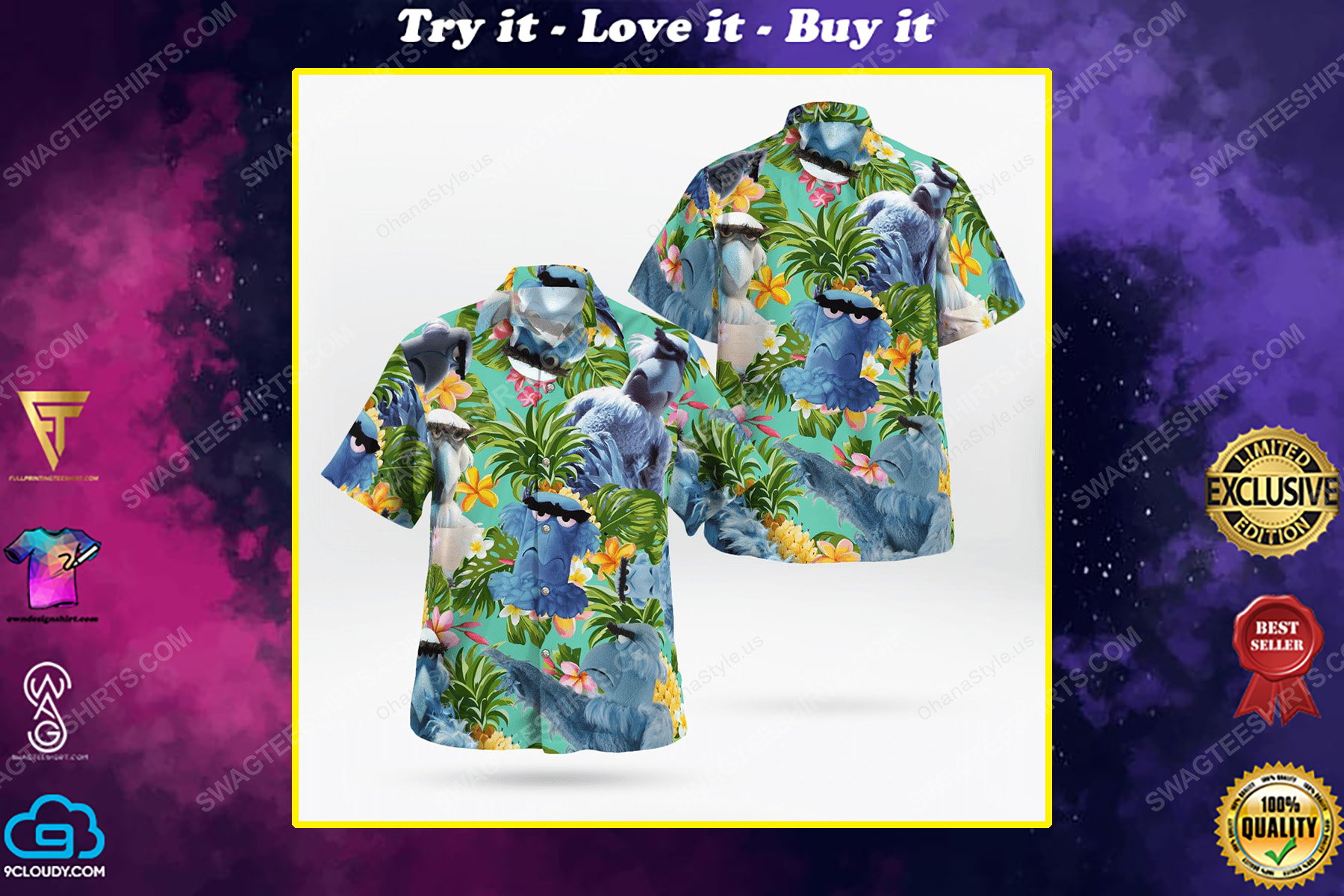 The muppet show sam the eagle hawaiian shirt